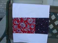 4th of July and all summer long - the perfect hostess gift. cotton tea towel accented with red white and blue fabrics. #shaggybaggy #mmmakers #redwhiteblue #summer #kitchen