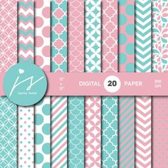 Turquoise and Pink Digital Paper Pack, Printable Paper, Seamless Paper Pattern, Digital Paper Bundle, Commercial Use Digital Paper, MI-197A