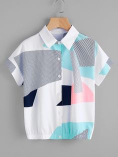 Shop Abstract Geo Print Shirt online SheIn offers Abstract Geo Print Shirt & more to fit your fashionable needs is part of Printed shirts - Crop Top Outfits, Cute Casual Outfits, Stylish Outfits, Casual Shirts, Girls Fashion Clothes, Teen Fashion Outfits, Fashion Dresses, Dresses Dresses, Jugend Mode Outfits