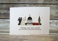 I LOVE London themed wedding day thank you cards by bunnydelicious on Etsy