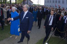 Queen Margrethe of Denmark, Prince Henrik of Denmark, Queen Silvia of Sweden and King Carl Gustaf of Sweden attend the celebration of the constitutional Bicentenary in Eidsvoll, Norway on May 17, 2014 in Eidsvoll, Norway.