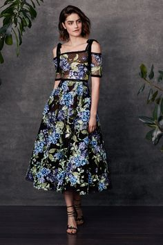 Off the shoulder embroidered flocked tulle tea length gown with 3D hydrangea embroidery and trims