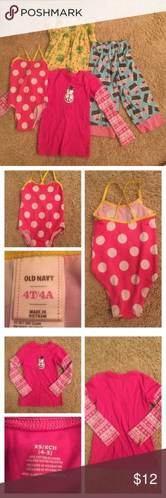 Girls size 4T bundle Group includes a one piece polka dot one piece bathing suit: Old Navy.    One pink long sleeve shirt with printed sleeves.    Two pajamas one frog print night gown and one pair of cupcake print long pants: Carter's Other