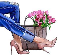 Jeans & Heels Source by mishathornton dibujo Fashion Wall Art, Fashion Prints, Foto Fashion, Girl Fashion, Mode Poster, Megan Hess, Mode Chanel, Modelos Fashion, Jeans With Heels