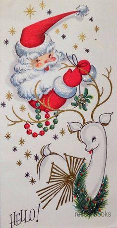 868 50s Unused Glittered Santa Reindeer Deer Vintage Christmas Card Greeting | eBay