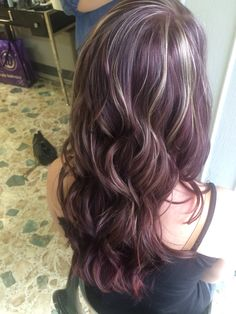 Violet red hair, with tiny blonde highlights. Fall hair, Paul Mitchell color and bleach.