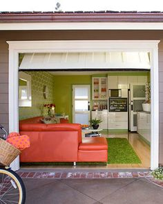 Pictures of home garages turned into rooms.