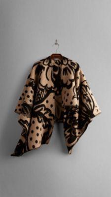 Thistle Motif Blanket Poncho Burberry