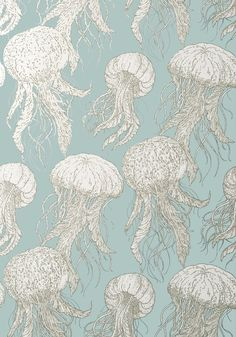 JELLY FISH BLOOM, Aqua, T13170, Collection Summer House from Thibaut