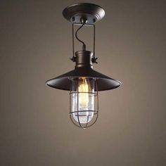 Old Copper 12'' Wide Single Light Close to Ceiling Light with Wire Cage