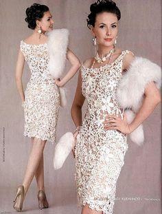 """Uncinetto d'oro: Meraviglioso abito """"Fiori bianchi""""!!!"""
