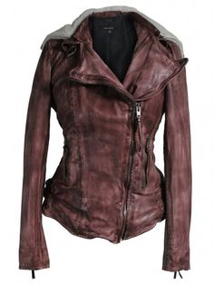 Muubaa Jadene Sheepskin Biker in Burnet - Jackets from Muubaa UK