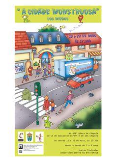 """""""A cidade monstruosa"""", actividade co alumnado do C.S. de Educación Infantil do IES Chapela. Na Biblioteca de Chapela. http://bibliotecasredondela.blogspot.com.es/2015/04/trouleando-cos-contos-nova-actividade.html Maio 2015."""