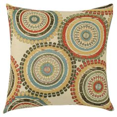 Set of two pillows with a multicolor medallion motif. Made in Council Bluffs, Iowa.  Product: Set of 2 pillowsConstr...