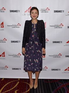 Pin for Later: Unpack Your White Dresses —These Stars Will Make You Reconsider the Rule Maggie Gyllenhaal Maggie Gyllenhaal at the WICT Touchstones Luncheon.