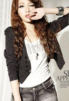 Women Long Sleeve Short Length Cotton Coat One Size @LY941430