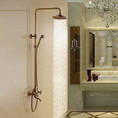 latón antiguo baño grifo de la ducha con alcachofa de la ducha 8 pulgadas…