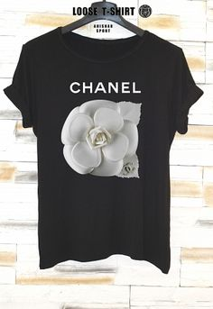 chanel flowers fashion tshirt/white  t-shirt / Chanel lipstick shirt/ Printed T-Shirt / cotton tshirt/ eco print tshirt/ loose tshirt/waisted shirt