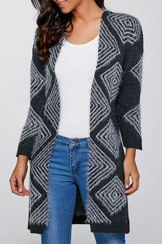 $15.04 Long Sleeve Geometric Cardigan