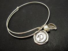 Personalized Sterling Silver, Adjustable Bracelet, Initial Stamped Bracelet Friendship, Bridesmaid, Mothers day Gift, Wedding