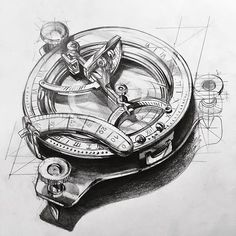 Sketch of a sextant, an object that was used to navigate at seas. Map Tattoos, Time Tattoos, Sleeve Tattoos, Tattoos For Guys, Clock Tattoo Design, Compass Tattoo Design, Tattoo Designs, Tatoo Compass, Nautical Compass Tattoo