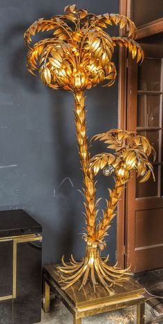 impressive 2 trunk palm tree by Hans Kogl | From a unique collection of antique and modern floor lamps at https://www.1stdibs.com/furniture/lighting/floor-lamps/