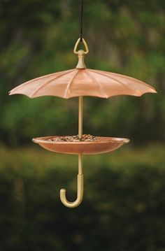 This solid copper, brass accented umbrella birdfeeder is very nice...also costly. I do like it.