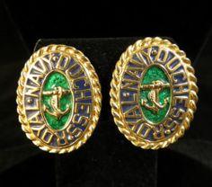 Carolee Signed Earrings Beautiful Vintage Gold Tone Green Enamel | eBay