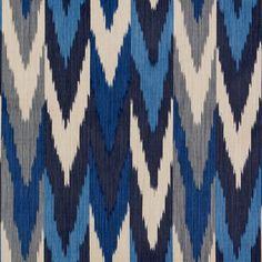 Kashgar Ikat | 176100 in Indigo & Slate | Schumacher Fabrics
