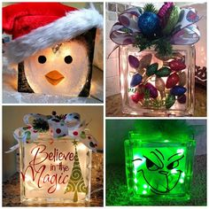 Christmas Glass Block Craft Ideas                                                                                                                                                                                 More