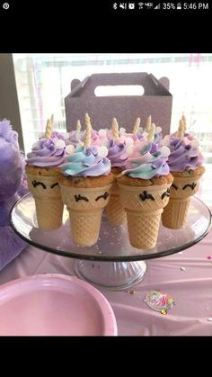 Unicorn cupcake cones- bake cupcakes inside an ice cream cone. Cute unicorn birthday party dessert treat ideas for kids. Dessert Party, Birthday Party Desserts, Birthday Party Decorations, Birthday Cupcakes, Cupcake Ideas Birthday, Birthday Food Ideas For Kids, 7th Birthday Party For Girls Themes, Party Themes For Kids, Lol Birthday Cake