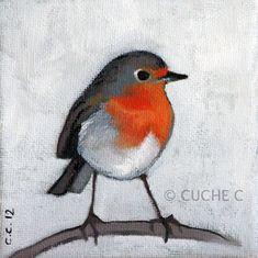 Tableau, peinture à l'huile, Rouge-gorge, oiseau. © Christelle Cuche