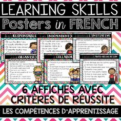 This file includes 6 French Learning Skills Posters highlighting the various success criteria associated with each Learning Skill. The Learning Skills included are those assessed on Ontario Report Cards and other Canadian provinces.The posters included Teacher Blogs, Teacher Pay Teachers, Teacher Stuff, Elementary Teacher, Elementary Schools, Skills To Learn, Learning Skills, Teaching French Immersion, Success Criteria