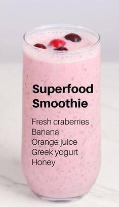 Cranberry Smoothie, Orange Smoothie, Fruit Smoothie Recipes, Healthy Breakfast Smoothies, Easy Smoothies, Smoothie Drinks, Healthy Drinks, Cranberry Recipes Drinks, Basic Smoothie Recipe