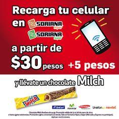 Recarga tu celular con tiempo aire y ¡Aprovecha esta promoción!  Aplica en SORIANA HUATULCO  y Tiendas Soriana