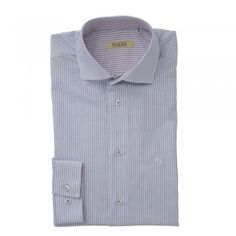 A timeless Oxford cotton blue and white striped shirt. The Jasper is a tailored fitting shirt. Features include, a contrasting inside-collar - purple and white, adjustable single cuff and wolfhound embroidery. Blue And White Striped Shirt, Oxford Blue, Wolfhound, White Cotton, Jasper, Tweed, Knitwear, Menswear, Shirt Dress