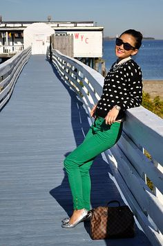 green pants, polka dot sweater and silver shoes