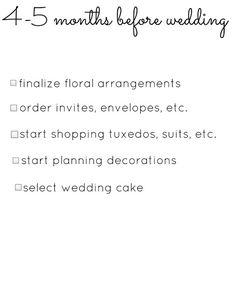 Wedding Planning Checklists (4-5 months before wedding)