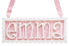 Our whimsically framed scalloped 4 letter Name Plaques will add spunk to any room! With our antique white scalloped edge frame, select your choice of ribbon and fabric background. Wooden Name Plaques, Wooden Names, Nursery Letters, Nursery Wall Decor, Coral Baby Bedding, Nursery Inspiration, Kid Names, Baby Kids, Lettering