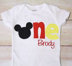 "Mickey Mouse Inspired ""One"" Shirt for 1st Birthdays - Boy Birthday Outfit - Classic Mickey - Red, Black and Yellow - 1st Birthday Shirt"