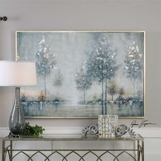 Hand Painted Artwork On Canvas Stretched And Attached To Wooden Stretchers. A Narrow Silver Leaf Frame Surrounds The Artwork. Due To The Handcrafted Nature Of This Artwork, Each Piece May Have Subtle Differences. Landscape Sketch, Landscape Artwork, Landscape Walls, Landscape Nursery, Landscape Fabric, Green Landscape, Hand Painting Art, Painting Frames, Home Decor Ideas