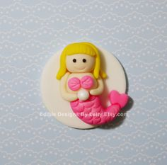 6 Edible Fondant Mermaid Cupcake Toppers by EdibleDesignsByLetty, $17.00