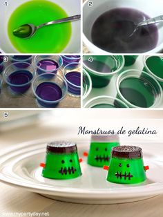 Jelly Monsters for Halloween. A very simple and fun recipe for the holidays at home with only one ingredient, gelatin./ Monstruos de gelatina para halloween. Una receta muy sencilla y divertida para las fiestas en casa, con sólo un ingrediente, gelatina.