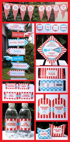 INSTANT DOWNLOAD Circus Party Carnival Party - full Printable Collection + Invitation - EDITABLE text that you personalize with Adobe Reader...