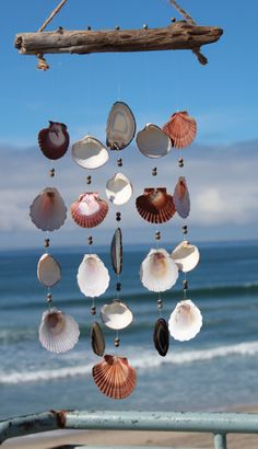 Driftwood Seashell Wind Chimes, Handmade Wind Chimes, Wind Chimes, Housewarming Gift, Beach House Decor, Outdoor Mobile, Agate Wind Chime