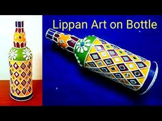 BOTTLE Art /Kutch work /mud and mirror work /glass bottle decoration idea Beer Bottle Crafts, Wine Bottle Art, Mirror Artwork, Clay Wall Art, Pottery Painting Designs, Clay Art Projects, Glass Bottles, Painted Bottles, Decorated Bottles