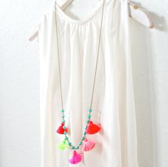 Aqua Bead Chain and Little Tassels Long by NestPrettyThingsShop, $42.00