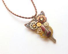@Amanda Rye Recycled Key Jewelry  Vintage Steampunk Owl by FunkyMaMaJewelry, $30.00