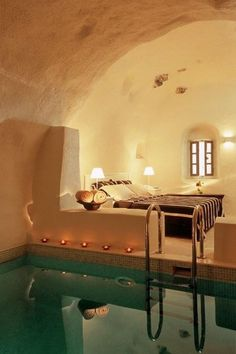 Amazing Snaps: Santorini Princess Luxury Spa Hotel, Greece can i just have this be my house? Beautiful Bedroom Designs, Beautiful Bedrooms, Dream Rooms, Dream Bedroom, Pool Bedroom, Bedroom Bed, Master Bedroom, Bedroom Decor, Bedroom Pics