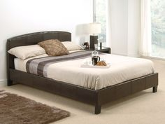 "Snuggle Beds Natalie in Brown.  4' 6"" Double Faux Leather Bed"